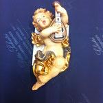 8A - Angelo con mandolino - scultura in legno dipinta a mano