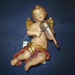 6A - Angelo con violino - scultura in legno dipinta a mano
