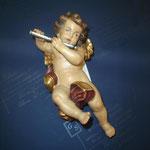 4A - Angelo con flauto -  scultura in legno dipinta a mano