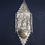 14B - Acquasantiera in argento fatta a mano Madonna con Bambino e Santi