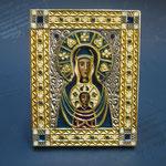 11 G - Icona in argento placcato oro dipinta a mano con smalto a fuoco