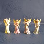17A - Angeli con strumenti - scultura in legno dipinta a mano