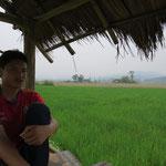 Lunch au milieu des champs de riz
