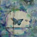 Blauer Falter , Collage 40x40 cm                                               40,00 €
