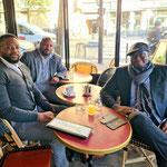 06/10/2021: Á Paris avec Frantzy Dorlean et Marc-Angelo Soumah, anciens footballeurs américains professionnels. Mise en place d'un partenariat jeunesse.