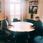 """29/01/2021:Avec monsieur Pierre Mbas, président de Diambars France. Très heureux de l'officialisation d'un partenariat solide entre """"Diambars France"""" et """"FR - Tous uniques, tous unis""""."""