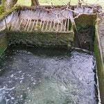 Wasser fliesst in den Leerlauf.