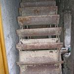 Metallenes Wasserrad von Nahem