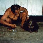 Dieses kleine Orang-Utan-Baby wurde um den Hals angekettet illegal in einem finsteren Versteck ohne Fenster gehalten, um es zu verkaufen.