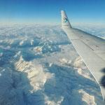 Flug über die Alpen nach Zürich