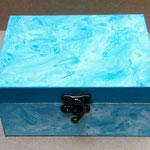 boite bleu turquoise - acrylique sur bois @B.Dupuis