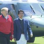 千葉のゴルフ場へヘリコプターでコースへ到着