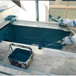 ヒサシ屋根部 H鋼 熱交換塗料塗布