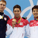 リオデジャネイロの表彰台 3位 萩野公介金メダル
