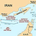 海峡のイラン側に島などがあり、イラン防衛隊が潜んでいる