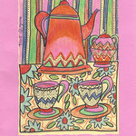 Postal by Rosa María Morató Roig. Original: Tea Collection. 7€