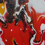 "Detailansicht ""Vulkanausbruch"", 2018, Fluid Painting, Acrylfarbe auf Leinwand, 40x40cm   -   (c) Atelier Anne Sänger"