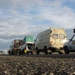 Warten an der russischen Grenze zur Mongolei..Grenze öffnet erst am Montag!