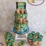 Jungle cupcakes and cake
