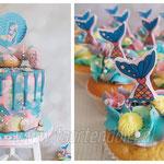 Mermaid cupcakes and cake