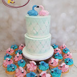 Gender reveal cupcakes and cake