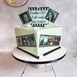 50 jaar met foto's taart