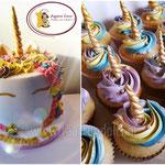Unicorn cupcakes met Unicorn taart