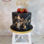 Zwart met gouden taart