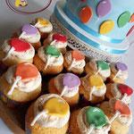 Ballonnen cupcakes met kletsmajoortoef