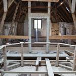 Situation des alten  Dachstuhls vor Rückbau der Gesamtkonstruktion