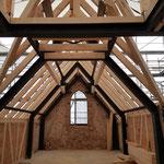 Herstellung des Dachabbundes und Fachwerk der Traufwände