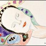 """Ausschnitt aus dem Gustav Klimt Bild """"Die Jungfrau"""""""