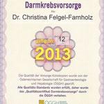 Qualitätszertifikat Darmkrebsvorsorge - Dr. Christina Felgel-Farnholz