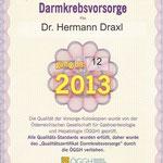 Qualitätszertifikat Darmkrebsvorsorge - Dr. Hermann Draxl