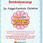 Qualitätszertifikat Darmkrebsvorsorge - Dr. Felgel-Farnholz Christina