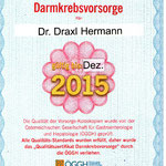 Qualitätszertifikat Darmkrebsvorsorge - Dr. Draxl Hermann