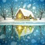 森のコテージに降る雪