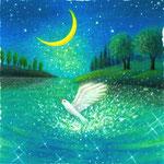 月夜の湖で