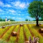 干し草と夏の丘