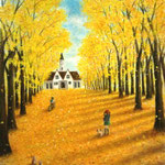 イチョウ並木と秋の午後