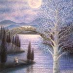 月明かりの湖畔