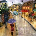 雨上がり前の街で