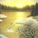 雪解け待つ湖畔で