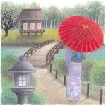 白梅が咲く茶室へ