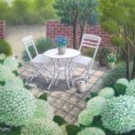 アナベルの咲く庭