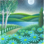 月明かりとブルーデイジー