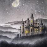 古城と上弦の月