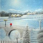雪の舞う石橋で