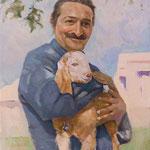 Meher Baba holding Nubien Goat