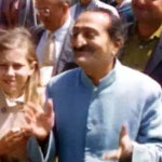 "1956 - Diane ( 13y.o.) with Meher Baba at Coit Tower over-looking San Francisco harbour  - image excerpts from ""Meher Baba's Grace"""